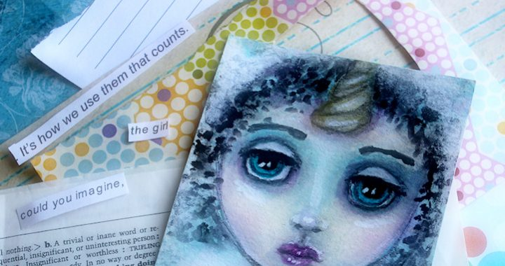 A Collaged Journal Card inspired by words from my word bowl